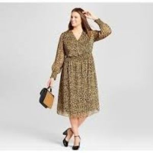 WhoWhatWear Animal Print Surplice Dress